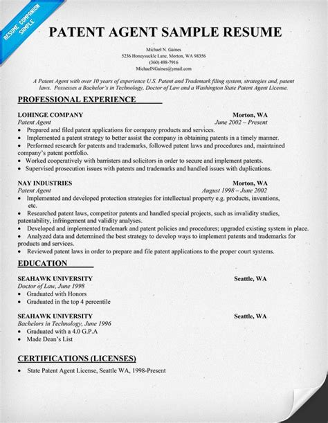 patent agent resume sle resumecompanion com resume