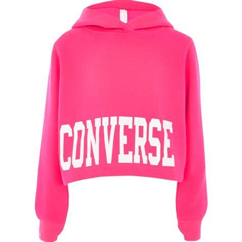 Crop Hodie Pink bright pink converse cropped hoodie hoodies sweatshirts tops