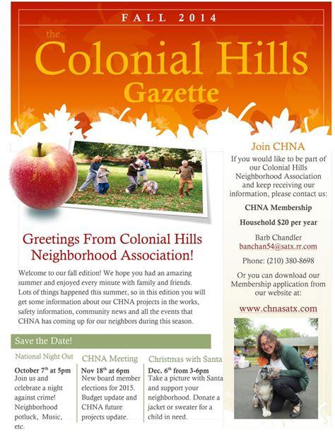 Our Colonial Hills Neighborhood Association Fall Newsletter Marketing The Neighbourhood Free Hoa Newsletter Templates