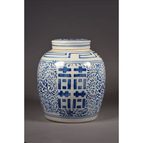 jar ginger 19th c blue white double happiness ginger jar