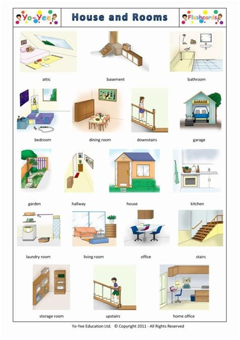 rooms of a house rooms and house flashcards for kids