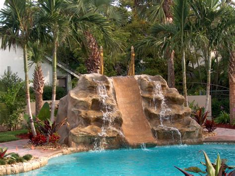 double waterfall and slide backyard pool ideas 2238