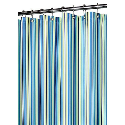 blue stripe shower curtain buy blue stripe fabric shower curtain from bed bath beyond