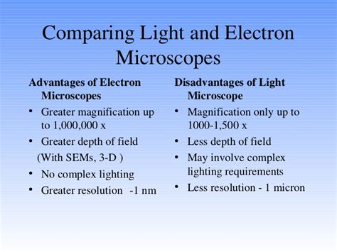 Difference Between Light Microscope And Electron Microscope by Comparison Of Light And Electron Microscopes