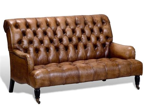 Artsome English Vintage Style Antique Brown Tufted Leather Brown Tufted Sofa
