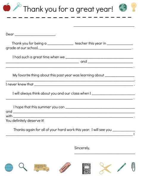 Thank You Letter To Your Child S End Of Year Thank You Note Late Parent Conferences And Parents