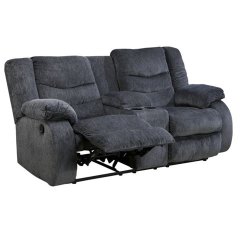 fabric reclining loveseat with console ashley garek fabric double reclining console loveseat in