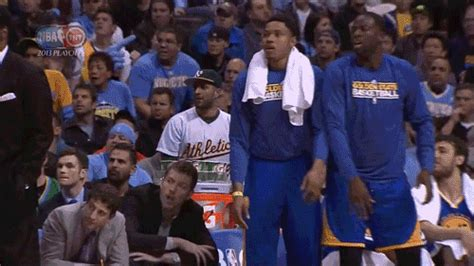 warriors bench reaction 15 gifs of nba players over celebrating kick up your