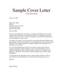 Cover Letter Exle Childcare Child Care Cover Letter Sle The Letter Sle