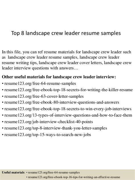 Landscape Crew Leader Sle Resume by Top 8 Landscape Crew Leader Resume Sles