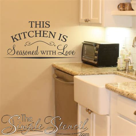 kitchen stencils designs this kitchen is seasoned with love vinyl wall lettering