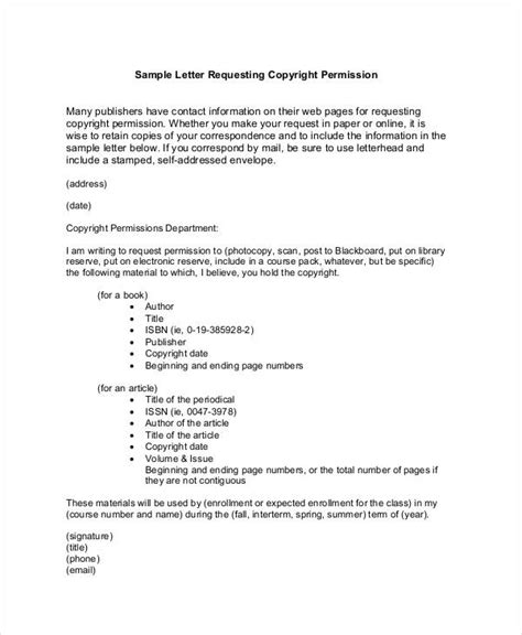 copyright permission letter template copyright permission letter exle docoments ojazlink