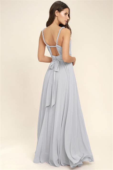 Lovely Light Grey Dress Maxi Dress Gown Bridesmaid