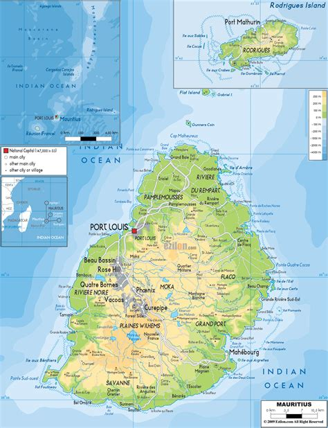 Physical Map of Mauritius   Ezilon Maps