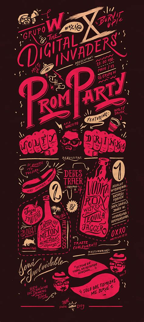 design digital poster digital invaders prom party on behance