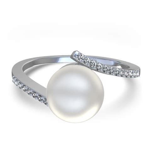 8 mm freshwater pearl and ring in 14k white gold