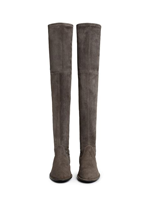 stuart weitzman lowland suede thigh high boots in gray