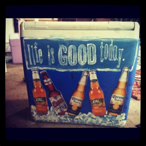 painted cooler with real bottle pictures coors light bud light corona blue moon budweiser