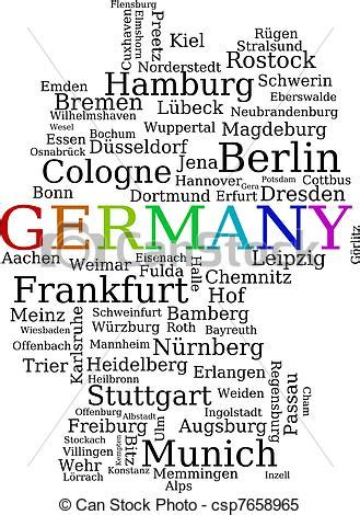 Search For By City And Name Clipart Vector Of Germany Outline Map Made Of City Names German Concept Csp7658965