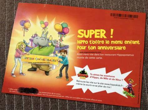 Anniversaire Enfant Buffalo Grill by Hippopotamus Anniversaire Menu Enfant Gratuit