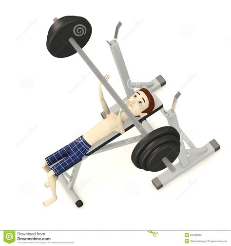 cartoon bench press cartoon boy in underwear with benchpress stock