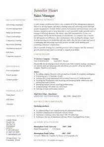 Resume Templates For Sales by Resume Sles For Sales Manager Sle Resumes