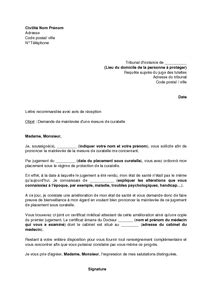 Lettre de demande de mainlevée d'une curatelle au juge