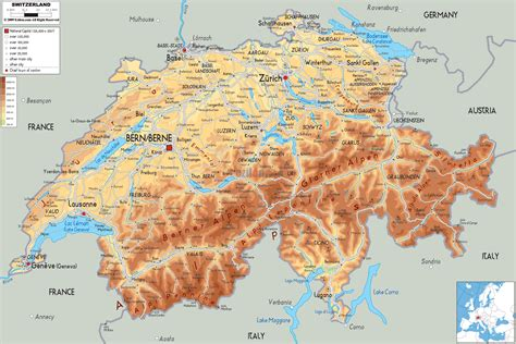 physical map of switzerland physical map of switzerland ezilon maps