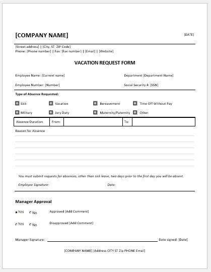 employee request form template employee vacation request forms for ms word word excel
