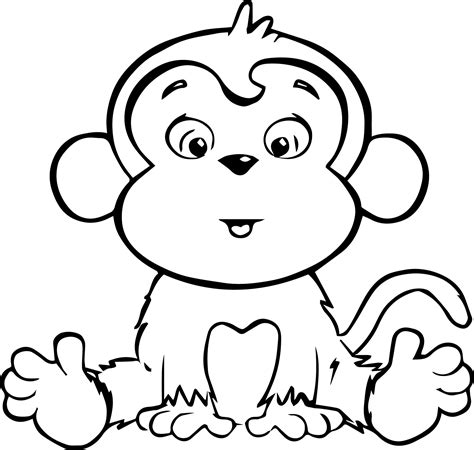 coloring pages baby monkeys colouring monkey clipart best