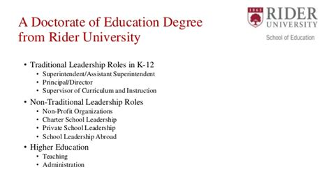 Educational Leadership Doctoral Programs 2 by Rider Ed D In Educational Leadership Launch