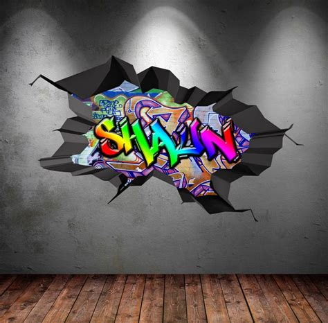 personalised  full colour graffiti wall decals cracked