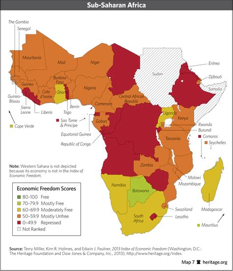 map of sub saharan africa index of economic freedom data maps and book