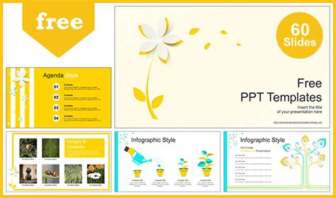 Beautiful Yellow Flower Powerpoint Templates Easily Editable Shape How To Create Ppt Template