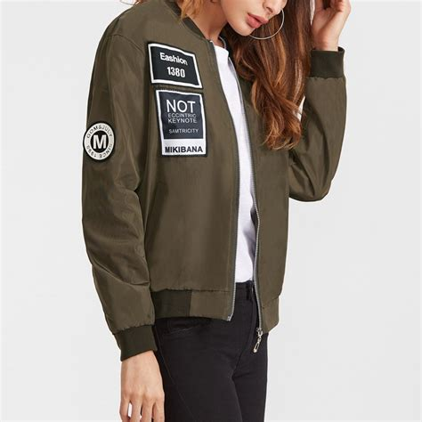 embroidered patch bomber jacket army jacket satin