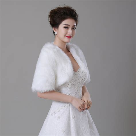 braut bolero winter free shipping half sleeve women winter wedding faux fur