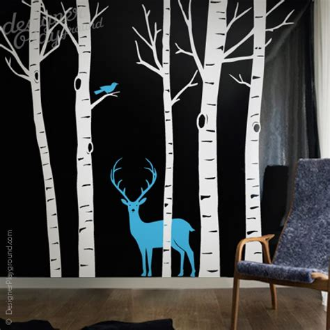 birch tree with bird and deer wall decals birch trees with deer and bird wall decal