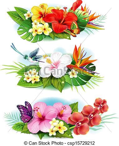 Flower Decoration In Home by Vector Clip Art Of Arrangement From Tropical Flowers