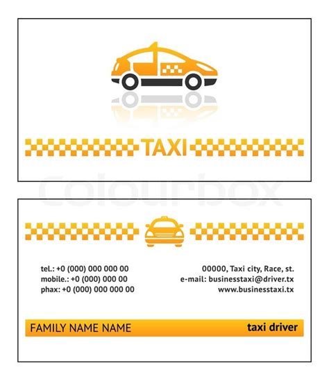 Taxi Name Card Template by Business Card Taxi Stock Vector Colourbox