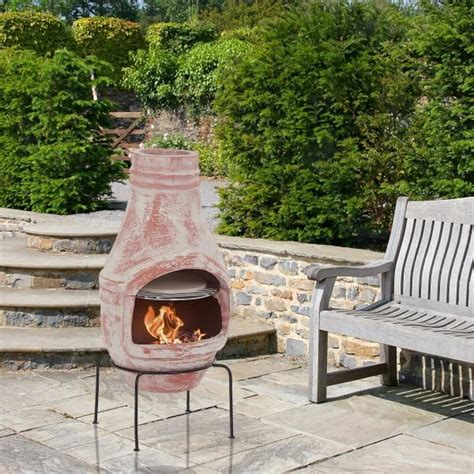 clay chiminea with pizza oven 75cm product photo