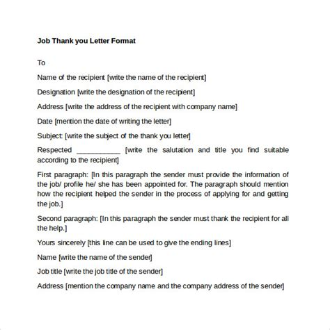 Thank You Letter Spacing Sle Thank You Letter Format 9 Free Documents In Pdf Word