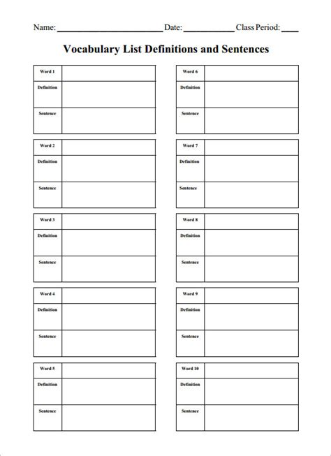 Blank Vocabulary Cards Template by 7 Blank Vocabulary Worksheet Templates Word Pdf Free