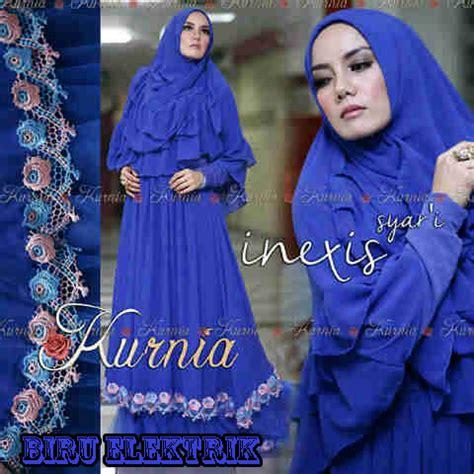 inexis vol 2 biru elektrik baju muslim gamis modern