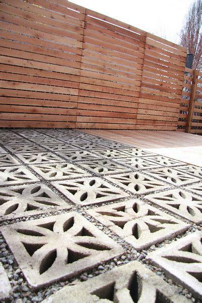 flower pattern concrete blocks decorative concrete blocks in the modern landscape grass