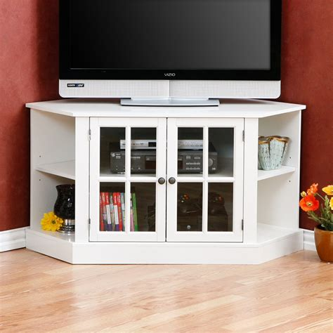 furniture white corner tv stand with glass media cabinet