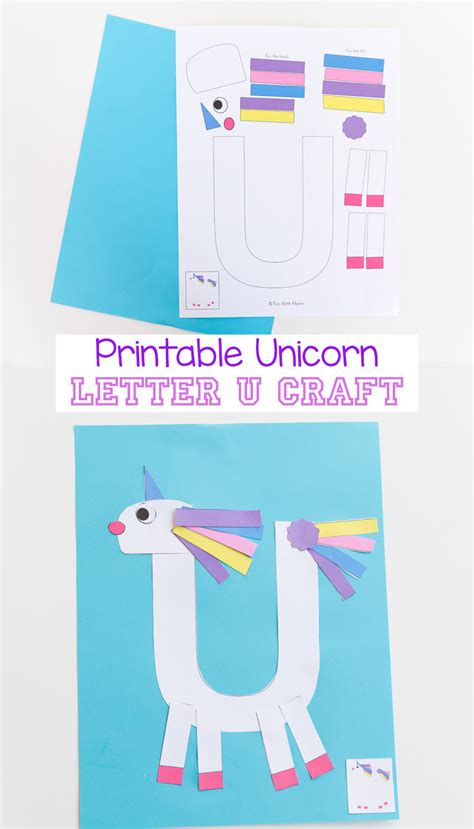 printable crafts for printable letter u craft unicorn with