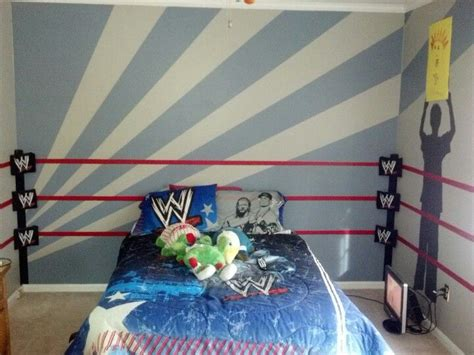 wrestling themed bedroom ideas wwe room ring and traced silhouettes of our 7 year old
