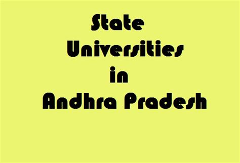 Mba Specializations List In Andhra Pradesh by State Universities In Andhra Pradesh Govt Info