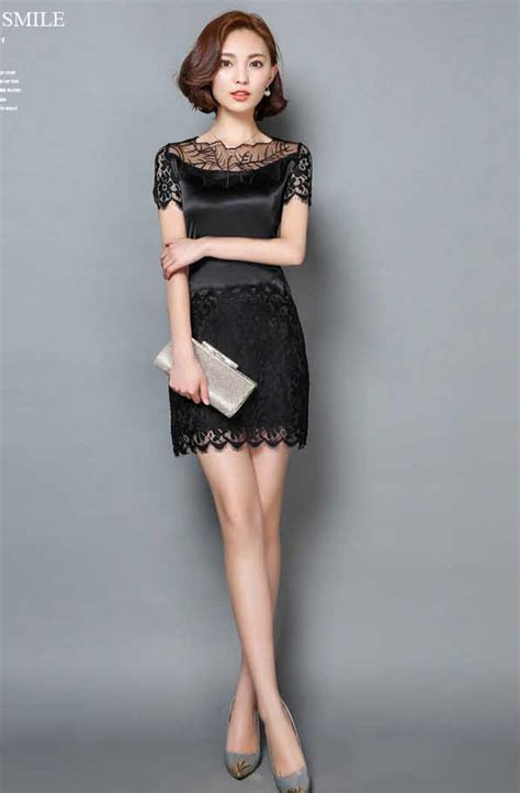 Dress Brokat Premium Import 11 dress brokat kombinasi satin pendek warna hitam 37a39
