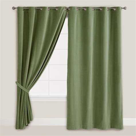 dark green curtain dark green velvet grommet top curtain world market